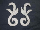 Pair Silver Metallic Scroll Costume Iron On Patches 2.75 Inch