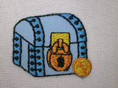 Mini Blue Pirate's Chest w Gold Lock Iron On Patch 1.25 Inch