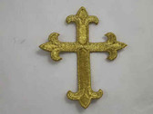 Christian Gold Cross Embroidered Iron On Patch 1.68 In