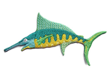 Swordfish Green Yellow Embroidered Iron On Patch Applique 4 Inches