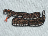 Rattle Snake Striking Embroidered Iron On Patch