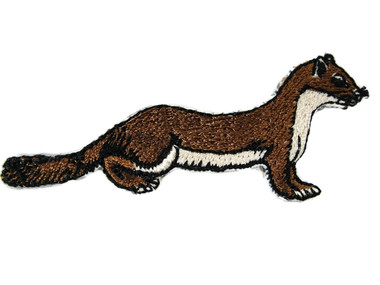 Least Brown Weasel Embroidered Iron On Applique Patch 2.75 Inches