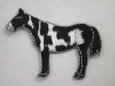 Brown and White Pinto Horse Iron On Embroidered Applique Patch