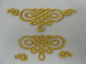 3.75 In Gold Elaborate Scroll Iron On Embroidered Patch Adjustable Design