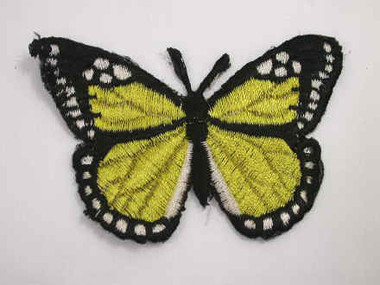 Pale Yellow Butterfly Embroidered Iron On Patch 3 Inch