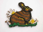 Brown Bunny Rabbit Flowers Iron On Patch 1.75 In