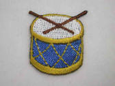 Blue Snare Drum Embroidered Iron on Patch 1 In