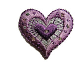 Lilac Silver Heart Iron On Patch 1.25 Inch