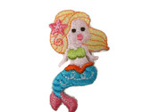 Mermaid Blonde With Shell Embroidered Iron On Patch