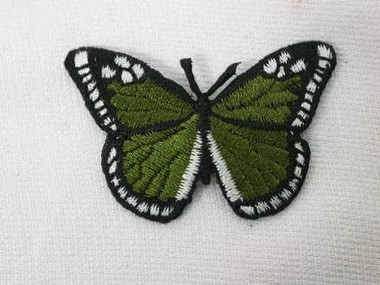 Forest Green Butterfly Embroidered Iron On Patch 3 Inch