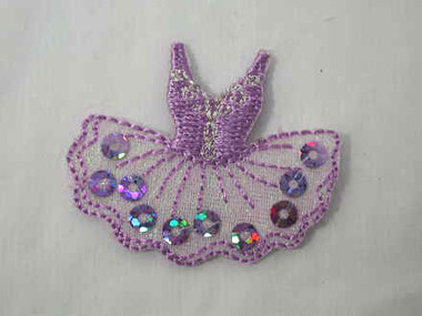 Ballerina Tutu w Sequin Embroidered Iron On Patch Lilac