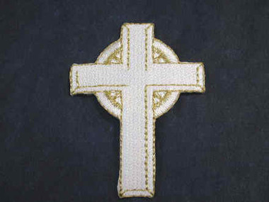 Christian Cross White w Gold Embroidered Iron On Patch