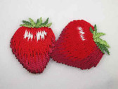 Strawberry Pair Embroidered Iron On Patch 1.5 In