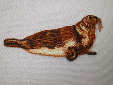 Brown Polar Seal Iron On Applique Patch 3.25 In