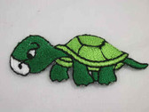Green White Turtle Tortoise Child Embroidered Iron On Patch