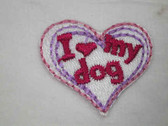 I Love My Dog Pink Embroidered Iron On Patch 1.25 In