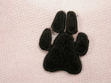 Black Dog Paw Print Embroidered Iron On Patch 2 Inch
