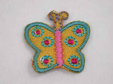 2 Yellow Pink Blue Green Butterfly Iron On Patch .75 In