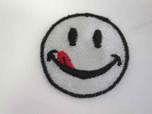 2 Grey Smiley Happy Face Embroidered Iron On Patch