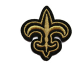 Fleur De Lis Gold Metallic Black Edge Trim Iron On Patch 1.75 Inches