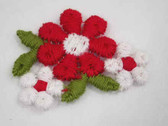 Red White Flower Spray Embroidered Sew On Patch