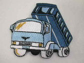 Big Blue Dump Truck Embroidered Iron On Patch