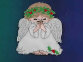 Praying Angel w Holly Embroidered Iron On Patch 2.5
