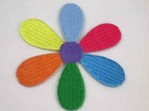Daisy Multi Color Embroidered Iron On Patch 3 Inch