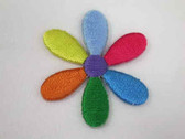 Daisy Multi Color Embroidered Iron On Patch 1.5 In
