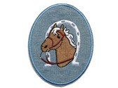 Horse Head Horseshoe Blue Twill Applique Embroidered Iron On Patch 3.75 Inches