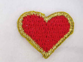 2 Red Heart Gold Edge Iron On Applique Patch .75 In