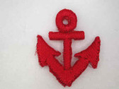 Red Nautical Anchor Embroidered Iron On Patch .75 In
