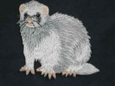 Silver Mitt Ferret DEW Iron On Applique Patch