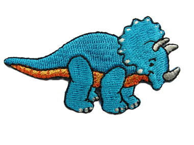 Triceratops Dinosaur Child Cartoon Blue Emboridered Iron On Patch 3.00 Inches