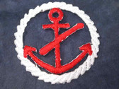 Red Anchor in Rope Frame Iron On Patch 1.38