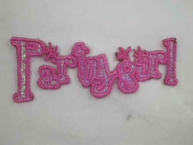 Party Girl Embroidered Iron On Patch 2.75 In