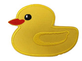 Large Yellow Duck Ducky Embroidered Iron On Patch 4.25 Inches
