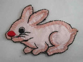 Pink Satin Bunny Rabbit Embroidered Iron On Patch