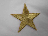 Star Gold Metallic Embroidered Iron On Patch 1.75 In