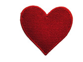 Red Heart Embroidered Iron On Applique Patch 2 Inch Wide