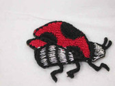 Sideways Ladybug w Silver Embroidered Iron On Patch