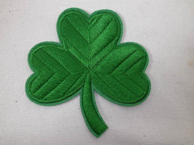 Green Shamrock Clover Leaf Iron On Patch 3 Inch