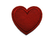 Red Felted Heart Iron On Patch Applique 1.5 Inches