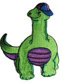 Brachiosaurus Dinosaur Child Cartoon Baseball Cap Iron On Patch 3.5 Inches - Green