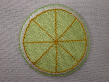 Lemon Slice Citrus Embroidered Iron On Patch 1.5 In