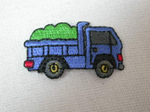 Construction Dump Truck Blue Green Kids Iron On Patch Applique 1.5 In