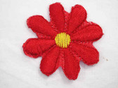 Red w Yellow Daisy Embroidered Iron On Patch 1.5 In