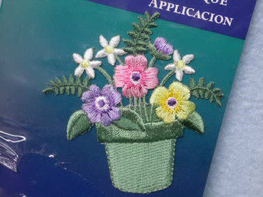 Flower Pot Embroidered Iron On Patch 2.75 Inch