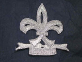 Silver Fleur De Lis Mardi Gras Bold Iron On Patch 2.5