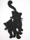 Black Lace Cat Pair Iron On Patch 2.75 In